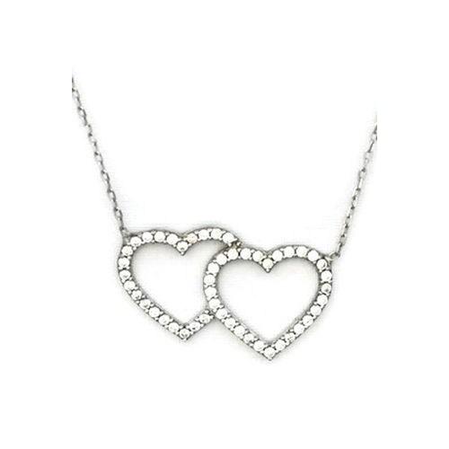 Beyazıt Takı 925 Ayar Gümüş Beyaz Çift Kalp Kolye