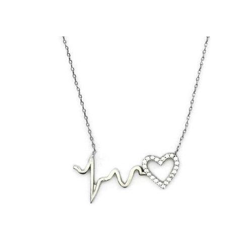Beyazıt Takı 925 Ayar Gümüş Beyaz Ritimli Kalp Kolye