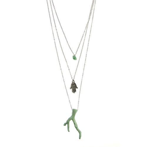 Chiccy Gümüş 3 Sıralı Yeşil Mercanlı Kolye