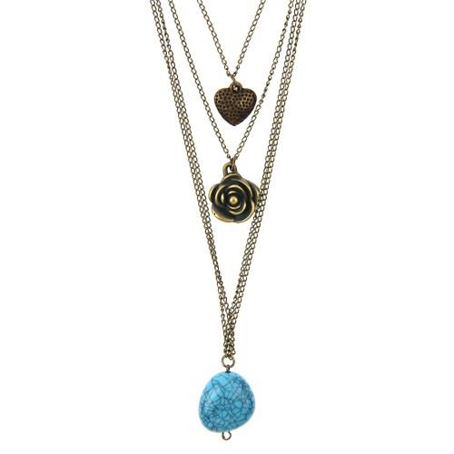 Chiccy Antik Zincirler Kalp Gül Ve Mavi Taşlı Kolye