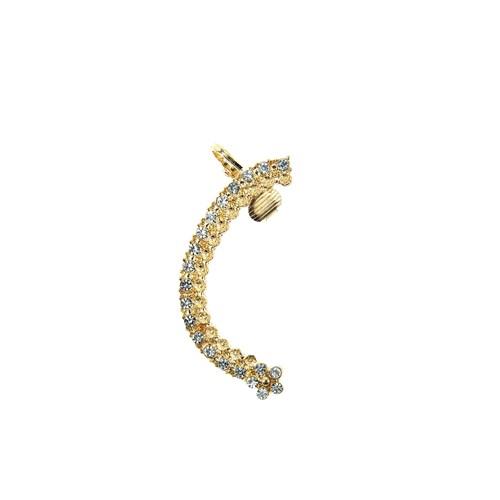 Chiccy Altın Ucunda Çiçek Kristalli Kulak Aksesuarı