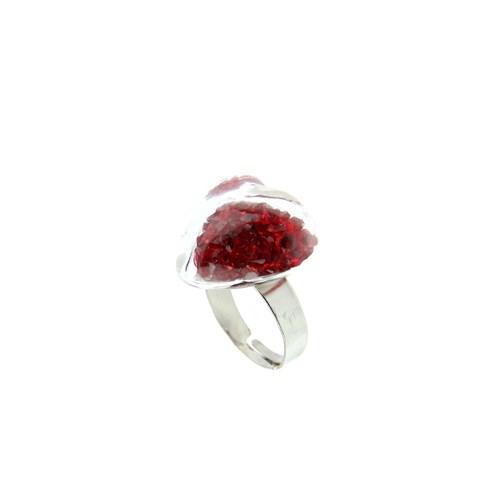 Chiccy Gümüş Kalp Cam İçinde Kırmızı Havyarlar Yüzük