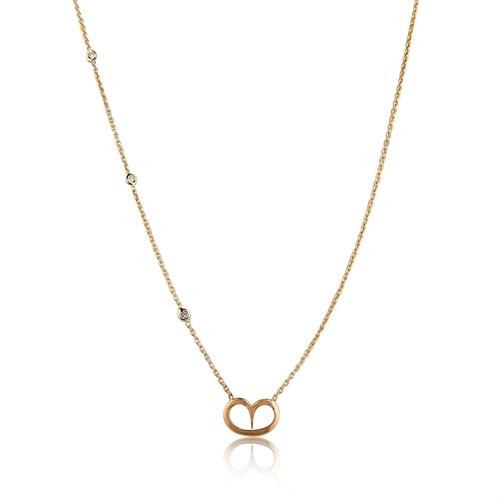Pırlanta Hediyeler Zinciri Pırlantalı Orta Boy Kalp Altın Kolye (Pembe Altın)