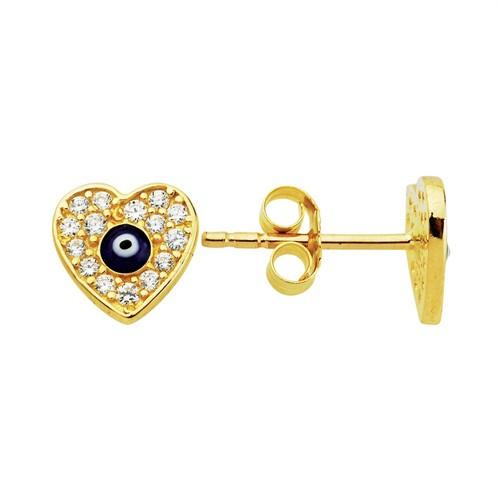 Bella Gloria Nazarlı Kalp Altın Küpe (Pe78309)