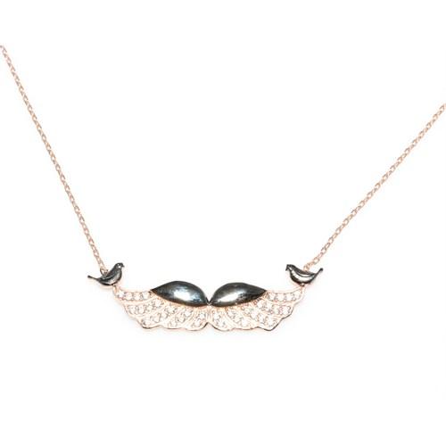 Nusret Takı 925 Ayar Gümüş Melek Kanadı Ve Muhhabet Kuşu Kolye Pembe Siyah - Beyaz Taş