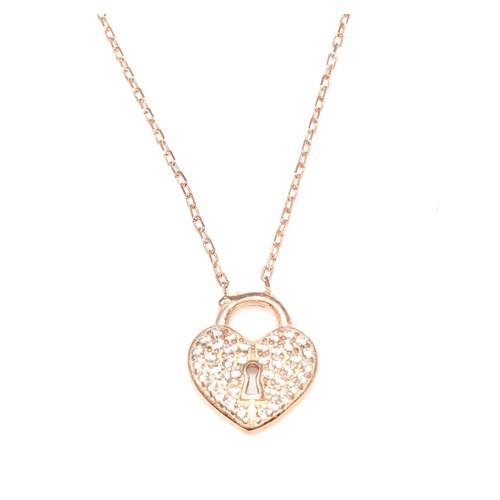 Nusret Takı 925 Ayar Gümüş Askılı Kalp Anahtar Deliği Pembe - Beyaz Taş