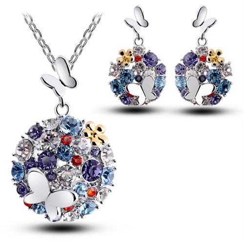 Modakedi Kristal Renkli Gümüş Kelebek Kadın Takı Seti