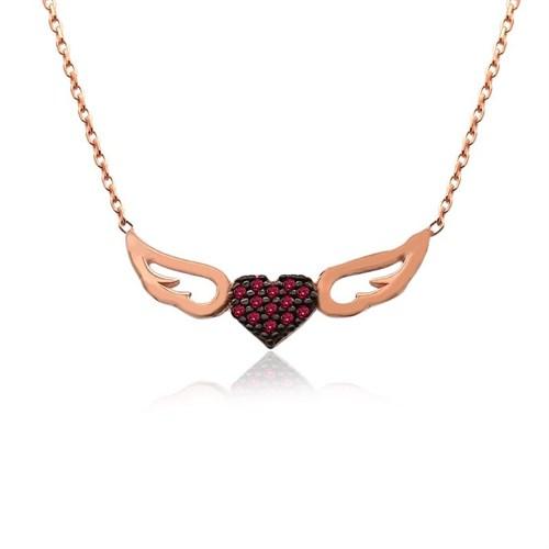 İndigo Takı Ruby Taş Kalpli Melek Kanadı Gümüş Kolye