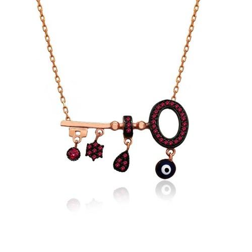 İndigo Takı Ruby Sallanan Parçalı Anahtar Gümüş Kolye