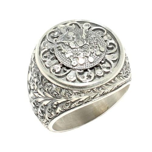 Nusret Takı 925 Ayar Gümüş Osmanlı Arması El Kalemli Erkek Yüzük