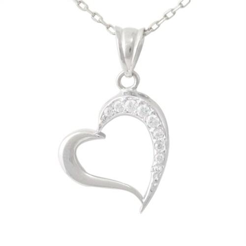 AltınSepeti Beyaz Kalp Kolye AS214KL