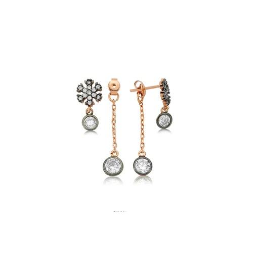 Olivin Accesories Gümüş Çift Taraflı Kar Tanesi Küpe 432148