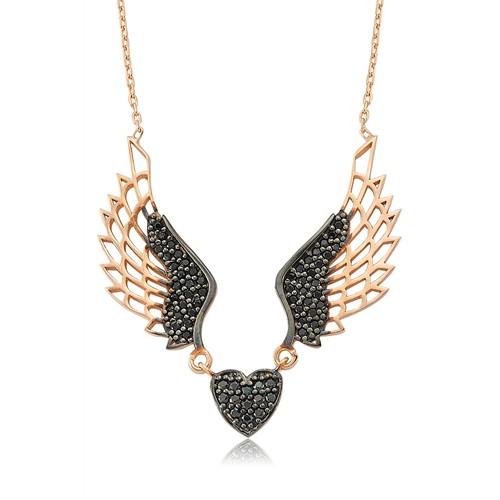 Olivin Accesories Gümüş Kanatlı Kalp Kolye 432739