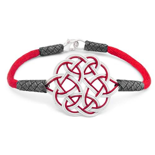 Tesbihane 1000 Ayar Gümüş Kırmızı Kazaz El Örmesi Bileklik