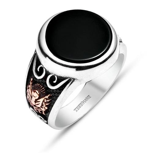 Tesbihane Oniks Taşlı-925 Ayar Gümüş Özel Tasarım Yüzük