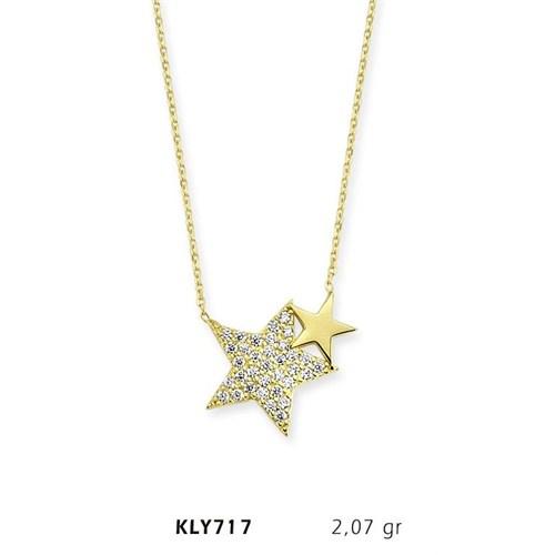 Romeo Pırlanta 14 Ayar Altın Yıldız Kolye Kly717