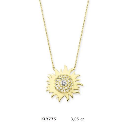 Romeo Pırlanta 14 Ayar Altın Güneş Kolye Kly775