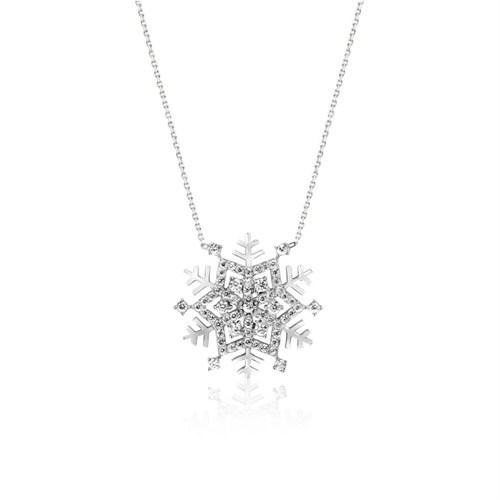 Bayan Lili Kar Kristali Gümüş Kolye