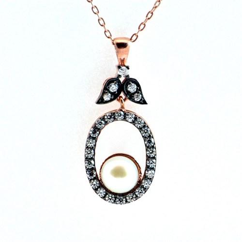 Bayan Lili İnci Taşlı 925 Ayar Gümüş Kolye Ay Tutulması