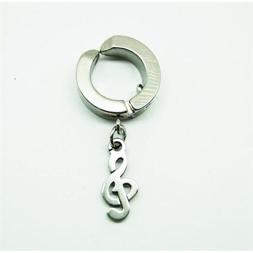 Gümüş Rengi Sol Anahtarı Çelik Sıkıştırma Küpe