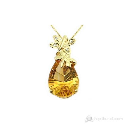 Goldstore 14 Ayar Altın 0.02 Ct Pırlanta Citrine Kolye Dp9178
