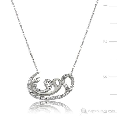 Gumush 925 Ayar Gümüş Osmanlı Takıları Zirkon Taşlı Kolye Pt1340011