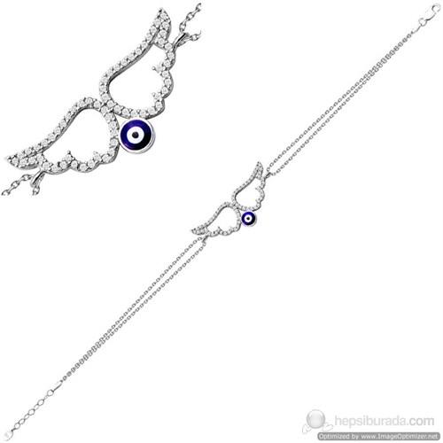Bella Gloria Gümüş Çift Zincir Nazarlı Melek Kanadı Bileklik (GB00192)