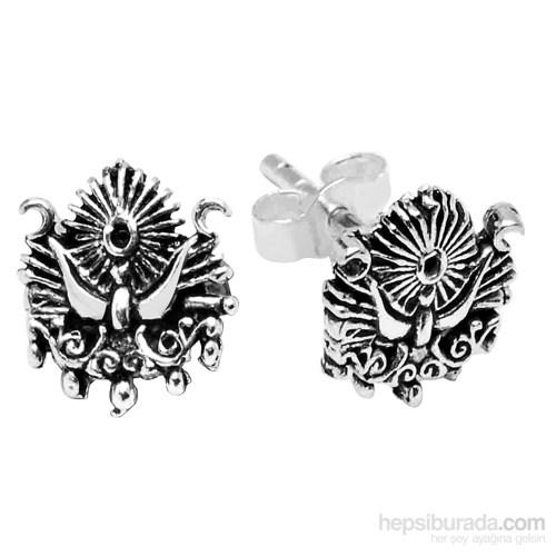 Tesbihane 925 Ayar Gümüş Osmanlı Armalı Küpe