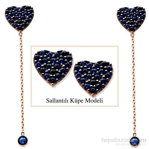Tesbihane 925 Ayar Gümüş Mavi Zirkon Taşlı Kalp Model Japon Sallantılı Küpe