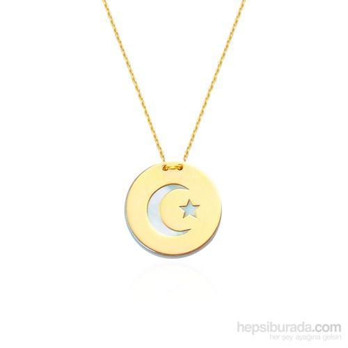 Glorria 14 Ayar Altın Sedefli Ay Yıldız Kolye