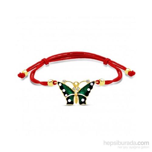 Aslaner Nazarlı Renkli Kelebek Altın Bileklik