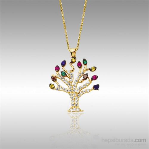 Sheamor Renkli Taşlı Ağaç Altın Kolye