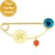 Goldstore 14 Ayar Altın Mavi Boncuk Baş Harf Yaka İğnesi G33337