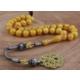 Tesbihevim Sarı Renk Sıkma Kehribar Tesbih 1000 Ayar Gümüş Kazaz Püsküllü Kht-584