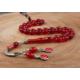 Tesbihevim Kırmızı Renk Sıkma Kehribar Tesbih Gümüş Ayyıldız Püsküllü Kht-590
