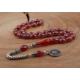 Tesbihevim Tuğralı Gümüş Püsküllü Ve İşlemeli Kırmızı Renk Sıkma Kehribar Tesbih Kht-591