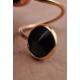 The Bety'S İki Büyük Siyah Yuvarlak Taşlı Eklem Yüzüğü