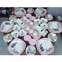 Keramika 44 Parça 6 Kişilik Retro Kahvaltı Takımı