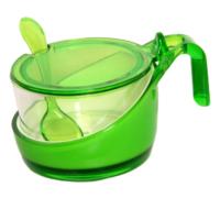 Lazzolli Baharatlık Çift Renk Kaşıklı saklama kabı Yeşil