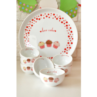 Keramika 8 Parça Kahvaltı Seti Hitit Beyaz Fruit Cake