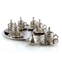 Uygun Osmanlı Motifli 6 Kişilik Kahve Seti Gümüş Renk