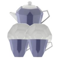 Kütahya Porselen 6 Parça Çay Seti Mor