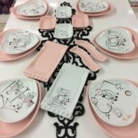Keramika Pembe Düş 6 Kişilik Keramika Kahvaltı Takımı