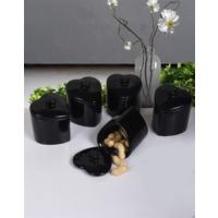 Keramika 5'Li Kalp Baharat Takımı 8 Cm Siyah