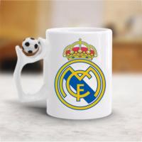 Real Madrid Futbol Toplu Beyaz Kupa Bardak Baskı