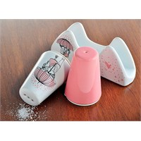 Keramika Set Tuzluk Biberlik Ada Peçetelik Platin 3 Parça Beyaz 004-Pembe 550 Pink Love Keramira A