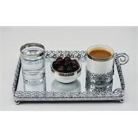 Cosıness D.Dörtgen Gümüş Yaldız Motifli Aynalı Tepsi - Kahve Takımlı