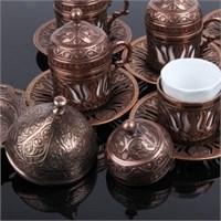 Biyax Ottoman Stil Lale 6 Kişilik Kahve Seti - Bakır