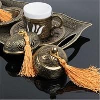 Biyax Ottoman Stil Lale Çift Kişilik Kahve Seti Sarı