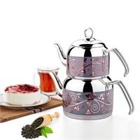 Özkent 308 Menekşe Orta Desenli Çaydanlık Çelik Saplı